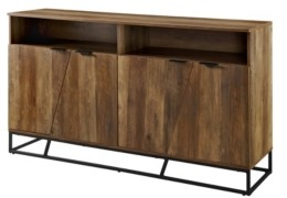 "Walker Edison 58"" Angled Door Sideboard Reclaimed Barnwood"