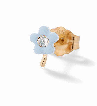 Alison Lou Light Blue Small Flower Stud Earring - Yellow Gold