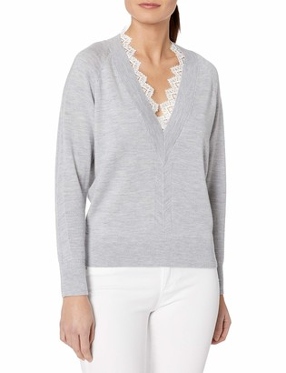 Rebecca Taylor Women's Long Sleeve Sweater with Lace Lined V-Neckline