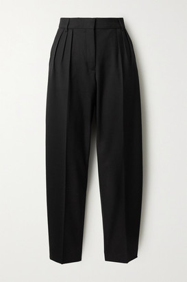 Acne Studios Pleated Grain De Poudre Tapered Pants - Black