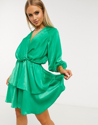 Forever U tiered wrap dress in green