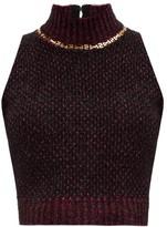 Versace Chain-embellished High-neck Boucle Tank Top - Womens - Dark Purple
