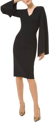 Michael Kors Collection V-Neck Flared-Sleeve Sheath Dress