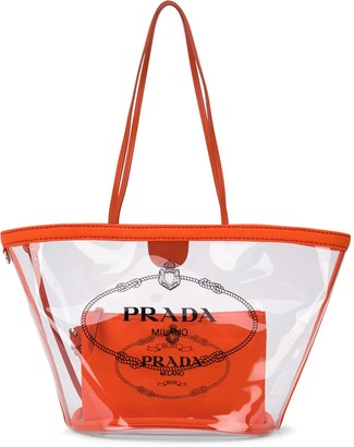 Prada Logo-Print Transparent Tote Bag