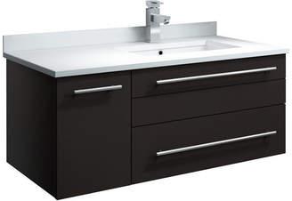 "Fresca Lucera Wall Hung Cabinet w/ Top & Undermount Sink, Espresso, Left, 36"""