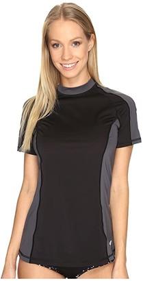 Speedo Solid Short Sleeve Rashguard Black) Women's Swimwear
