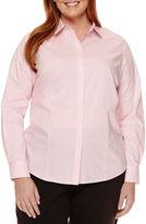 Liz Claiborne Long Sleeve Wrinkle Free Shirt-Plus