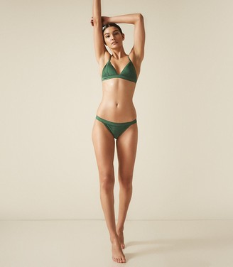 Reiss Raquel - Pleat Detail Bikini Briefs in Emerald Green