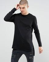 Asos Longline Side Split Sweater in Black