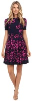 Donna Morgan Short Sleeve Floral Printed Scuba Fit and Flare Dress