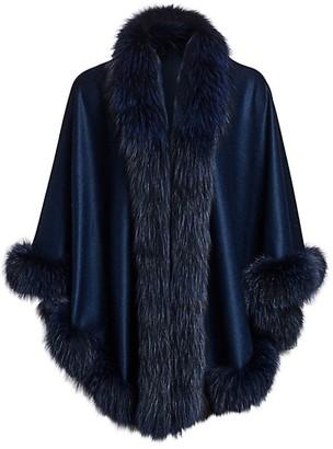 The Fur Salon Fox Fur-Trim Cashmere Cape Jacket