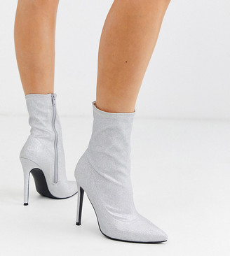 ASOS DESIGN Wide Fit Esmerelda high heeled sock boots in silver glitter