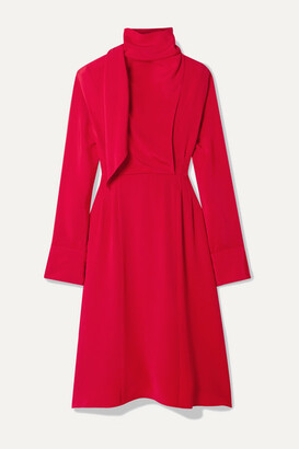 Jason Wu Tie-neck Draped Georgette Dress - Red