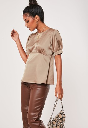 Missguided Grey Satin Babydoll Top