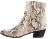 Barbara Bui Snakeskin Round-Toe Ankle Boots