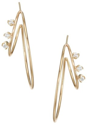 Zoë Chicco 14K Yellow Gold & Diamond Medium Double-Wire Hoop Earrings