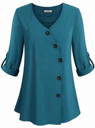 Moyabo Women's V Neck Button Down Shirt with Cuffed Long Sleeve Tunic Chiffon Blouses Tops Jade Large