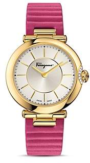 Salvatore Ferragamo Style Yellow Gold Ion-Plated Stainless Steel and Leather Watch, 36mm