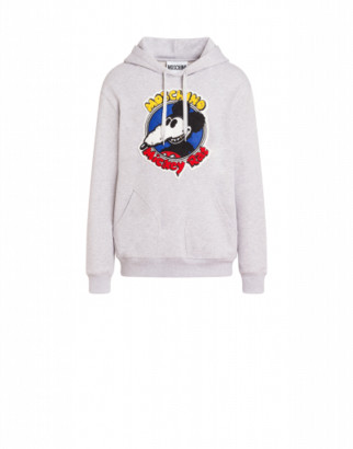 Moschino Mickey Rat Hoodie Man Grey Size L It