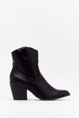 Nasty Gal Womens West Time Ever Faux Leather Ankle Boots - Black - 3