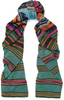 Missoni Striped Metallic Stretch-knit Scarf - Turquoise