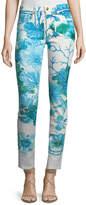 Roberto Cavalli Skinny-Leg Coral-Reef Printed Stretch-Denim Ankle Jeans
