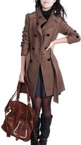 YOUJIA Women Thicken Double-Breasted Trench Coat Jacket Bleted Stand Collar Peacoats (, XL)