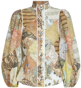Zimmermann Brightside Piped Body Shirt in Batik Patch