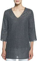 Michael Kors Embroidered Metallic Dot-Print Tunic, Black