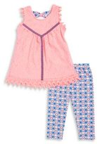 Nannette Girl' Lace Tunic and Geometric Leggings Set
