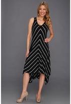 Karen Kane Asymmetrical V-Neck Dress (Stripe) - Apparel