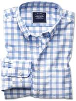 Slim Fit Button-down Non-iron Twill White And Blue Cotton Shirt Single Cuff Size Large