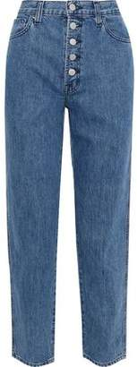 J Brand Cropped Faded High-rise Straight-leg Jeans