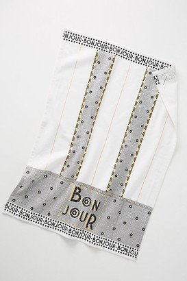 Anthropologie Bistro Tile Bonjour Dish Towel By in Black Size DISHTOWEL
