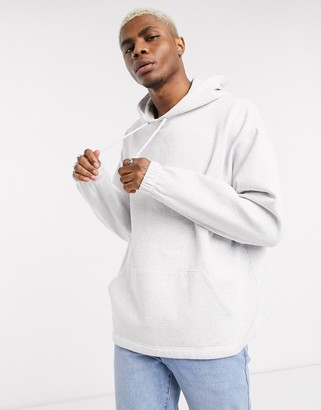 ASOS DESIGN oversized hoodie with fixed hem in white marl