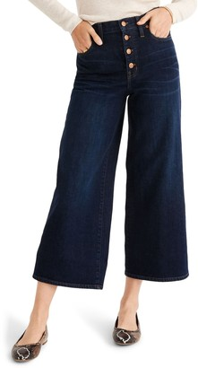 Madewell Button Front Wide Leg Cropped Jeans