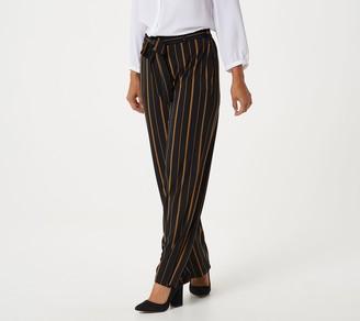 Susan Graver Regular Printed Liquid Knit Wide-Leg Pants with Belt