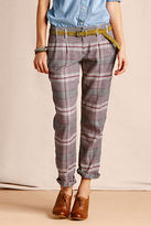 Lands' End Women's Pleated Patterned Slim Slouch Pant