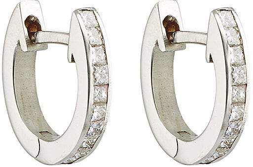 Ileana Makri Women's White Diamond Huggie Hoops