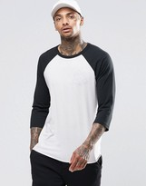 Obey Raglan 3/4 Length T-Shirt With Rose Print