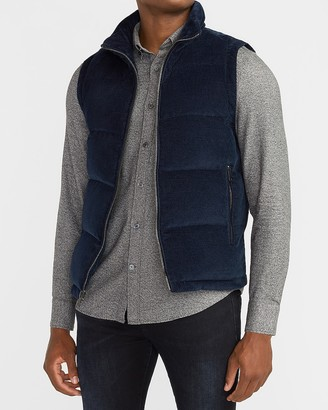 Express Navy Corduroy Puffer Vest