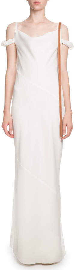 Loewe Cowl-Neck Cold-Shoulder Column Evening Gown w/ Leather Strap
