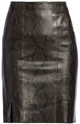Akris Python Leather Pencil Skirt