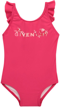 Givenchy Girl's Ruffle Embroidered Logo One-Piece Swimsuit, Size 12M-3
