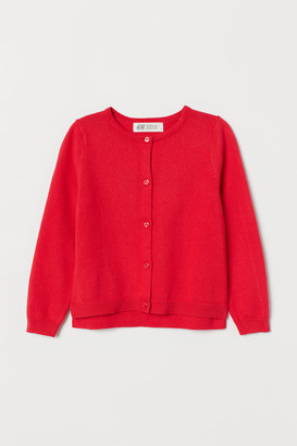 H&M Fine-knit Cotton Cardigan - Red