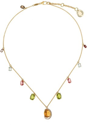 Brumani 18kt yellow gold Looping Shine mixed gemstone necklace