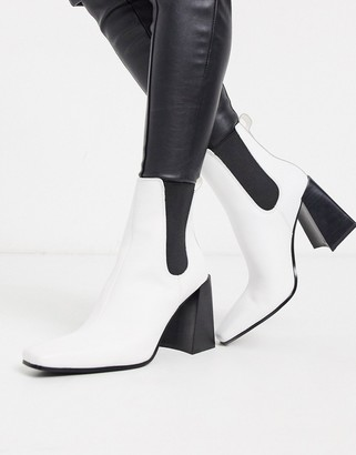 Topshop leather heeled chelsea boots in white