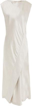 Gentry Portofino Gentryportofino Wrap-effect Shantung Midi Dress