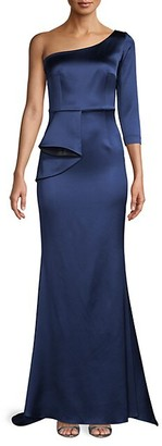 Safiyaa Draped Front Satin One-Shoulder Gown