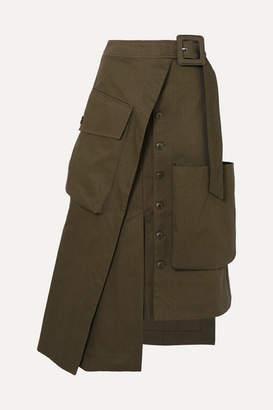 Jacquemus Thika Asymmetric Cotton-gabardine Midi Skirt - Army green